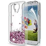 LeYi Hülle Samsung Galaxy S4 Glitzer Handyhülle mit HD Folie Schutzfolie,Cover TPU Bumper Silikon Flüssigkeit Treibsand Clear Schutzhülle für Case Samsung Galaxy S4 Handy Hüllen ZX Rot Roseg