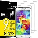 NEW'C 3 Stück, Schutzfolie Panzerglas für Samsung Galaxy S5, Frei von Kratzern, 9H Härte, HD Displayschutzfolie, 0.33mm Ultra-klar, Ultrabeständig