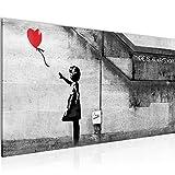Wandbilder Banksy Ballon Girl - Kunstdruck Modern Graffiti - Wohnzimmer Flur Street Art Rot 301612