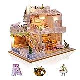 Cuteefun DIY Miniatur Puppenhaus Kit zum BAU Miniatur Haus mit Musik Staubschutz und Möbeln Selber Bauen Kreative Bastelgeschenke für Frauen (Meet Love)