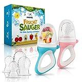 EISBÄRG ® Fruchtsauger [2er] Set für Baby & Kleinkind - Fruchtschnuller Beißring (blau + rosa) – BPA-frei - für Obst und Gemüse mit ergonomischem G