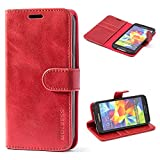 Mulbess Handyhülle für Samsung Galaxy S5 Hülle, Leder Flip Case Schutzhülle für Samsung Galaxy S5 Neo Tasche, Wein R