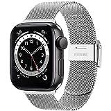 Amzpas Armband Kompatibel mit Apple Watch Armband 38mm 40mm 42mm 44mm, Edelstahl Metall Ersatzarmband für iWatch Series SE/6/5/4/3/2/1 (42mm/44mm, Silber)