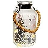alles-meine.de GmbH XL Glas - Windlicht - LICHT Dekoflasche - 5 Stück LED - Weihnachten - Hirsch im Winterwald - Silber - 20 cm - Flasche - Weihnachtsflasche - L