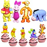 52 pcs Winnie the Pooh Birthday Cake Topper wopin- Pooh Honey Birthday Happy Brthday Piggy Adzuki Bean Tigger Cake Decoration Cake for C