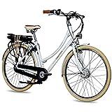 CHRISSON 28 Zoll E-Bike City Bike für Damen - EH1 weiß mit 7 Gang Shimano Nexus Nabenschaltung - Pedelec Damen mit Ananda Vorderradmotor 250W, 36V, 40 Nm, Retro Elektrofahrrad D