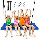 COSTWAY Baumschaukel Nestschaukel 100-180cm verstellbaren Seil, Hängeschaukel 320kg Tragkraft, Mehrkindschaukel Gartenschaukel für Kinder & Erwachsene 150x80cm (Blau)