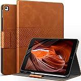AUAUA Hülle für iPad 9.7 Zoll 2018/2017(6./5.Generation)/iPad Pro 9.7/iPad Air 2/Air 1 mit Stifthalter, Auto Schlaf/Aufwach Funktion, Magnetic Tasche Lederhülle(Orange braun)