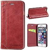 LENSUN iPhone 6 Echtleder Hülle, iPhone 6s Lederhülle, Leder Handyhülle Handytasche für iPhone 6 / 6s Schutzhülle Tasche Flip Case Ledertasche - W