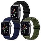 Younsea 3er-Pack Ersatzarmband Kompatibel mit Apple Watch 44mm 42mm 38mm 40mm, Nylonarmband für iWatch Series 6 5 4 3 2 1/Apple Watch SE, Damen und Herren 42mm/44mm Olivgrün/Marineblau/Schw