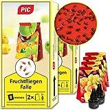 PIC - Fruchtfliegen-Falle, Obstfliegenfalle und Essigfliegenfalle - 2 Lockstoffbehälter mit 4 Leimfallen für extra Lange Wirkung - Mittel um Fruchtfliegen zu bekämpfen - Geeignet für die Kü
