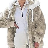 Freenfitmall Übergroße Damen-Winterjacke, Übergröße, modisch, leger, kariert, mit Kapuze, Reißverschluss, Damen-Lamm, aprikose, 48