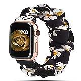 Scrunchie Strap für Apple Watch, Elastisches Nylonarmband Schlaufenband für iWatch Serie SE/6/5/4/3/2/1-Schwarze Gänseblümchenblume,42mm oder 44mm,L (152mm-198mm)