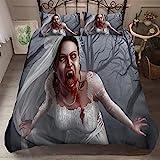 WJYMJJ Bettwäsche Bettbezug Zombie-Braut Bettwäsche Set Hypoallergen Weich Mikrofaser Bettbezug Set Band 2 Kissenbezug 200 x 200