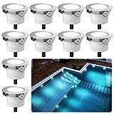 LED Einbaustrahler Außen, 10er Set Led Bodeneinbauleuchten Aussen DC12V, Ø33mm, IP67 Wasserdicht Terrassenbeleuchtung für Küche Garten Treppen Holzdeck Decke- Kaltes L