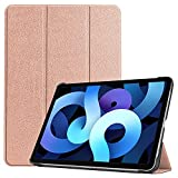 ZHIWEI Tablet PC Tasche Für iPad Air4 10.9 2020 Tablet-Gehäuse, für iPad 11 2018 Tablet-Gehäuse Leichtgewichtiger Trifold-Stand PC. Hard Back Coverwith Trifold & Auto Wake, Schlaf (Color : Rose Gold)
