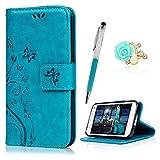 YOKIRIN S5 Mini Hülle Case Tasche Blau PU Leder Schmetterling Weinstock Handyhülle Wallet Schutzhülle Kunstlederhülle Handytasche Flipcase für Samsung Galaxy S5 Mini Bookstyle S