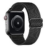amBand Armband Kompatibel mit Apple Watch 45mm 44mm 42mm 41mm 40mm 38mm, Stoff Geflochten Weichem Nylon Sport Dehnbarer Armbänder für iWatch Series 7/6/SE/5/4/3/2/1 Herren D