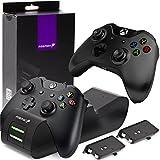 Fosmon Dual Controller Ladestation Kompatibel Mit Xbox One/One S/One X/Elite (Nicht Für Xbox Series X/S 2020) Controller, (Dual Slot) Docking Station Schnell Ladegerät und 2X Akku Batterien - Schw