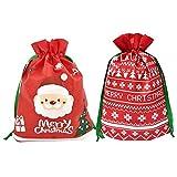 Weihnachten Kordelzug Taschen,12 Stück Xmas Party Geschenk Taschen mit String Wrapping Taschen mit Frohe Weihnachten Schriftzug Santa Vlies Geschenk Tasche für Weihnachten Party F
