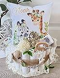 Windeltorte mit Name - Kuschelkissen Giraffe Zebra I Schnullerkette & Greifling - Geschenk, Babyparty, Geburt oder Taufe + auf Wunsch, gratis Grußk