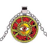 Halskette mit Anhänger im Vintage-Stil mit magischem Auge, Evil Eye, Illuminati-Muster, Glas, Cabochon, Punk, Kette Amulett Schmuck