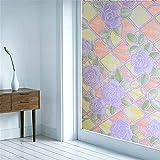 Fensterfolie selbsthaftend Modeblumen Statische Fensterfolien Anti-UV Folie Für Zuhause Badzimmer oder Büro,Matt,mit sehr hohem Sichtschutz,Violett,50 x 500