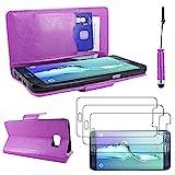 ebestStar - kompatibel mit Samsung Galaxy S6 Edge+ Hülle SM-G928F Edge Plus Wallet Case Handyhülle PU, Kartenfächern Standfunktion +Mini Stift +3 Schutzfolies, Lila [Phone: 154.4x75.8x6.9mm 5.7']