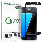 amFilm Panzerglas Schutzfolie für Galaxy S7, Vollständige Abdeckung (Schutz Hüllenfreundliche) Glas Displayschutzfolie für Samsung Galaxy S7 (Schwarz)