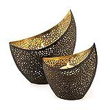levandeo 2er Set Teelichthalter Metall Gold Schwarz 11cm 14,5cm Desig