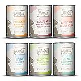 MjAMjAM - Premium Nassfutter für Katzen - Mixpaket 3 - Wild & Kaninchen, Pute, Ente & Geflügel, Herzen, Huhn, Rind, 6er Pack (6 x 400 g), Getreidefrei Mit Extra Viel F