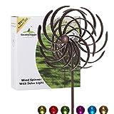 Solar Metall Windrad - mit LED-Licht - Windspiel für draußen - ganz Leichter Aufbau - wetterfest - extra antike Gartendeko - Windrad LED - standfest - ideal für Terrasse und Garten - Höhe: 155