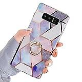 Uposao Kompatibel mit Samsung Galaxy Note 8 Hülle mit 360 Grad Ring Ständer Glitzer Bling Strass Glänzend Mädchen Männer TPU Silikon Marmor Muster Handyhülle Schutzhülle Tasche Case,L