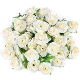 Kesote 50 Stück Künstliche Blumenköpfe Blütenköpfe Kunst Blumen Rosen Köpfe für Hochzeit Party Deko DIY (Ø 4cm, Creme)