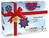 Kreul 42849 - Window Color XXL Set, für kleine und große Kreative, 9 x 80 ml Fenstermalfarben, 80 ml Konturenfarbe, eine Spezialfolie, 150 Schmucksteine und Vorlagen mit Blüten und M