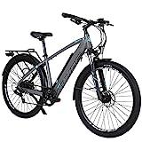 Hyuhome Elektrofahrräder für Erwachsene Herren Damen,250W 36V 12.5Ah Mountain E-MTB Fahrrad,27.5' Ebikes Full Terrain,Shimano 7 Gang Getriebe Doppelscheibenbremsen für Outdoor Pendler (Grey, 820M+)