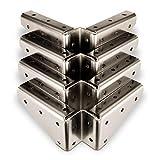 4 x SO-TECH® Winkelbeschlag Stahl vernickelt 125 x 125 x 54 mm mit seitlichen Anschraublö