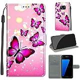 nancencen Kompatibel mit Samsung Galaxy S7 / SM-G930 (5,1') Hülle, Retro Persönlichkeit Dünne Handyhülle, Mit Magnetschnalle, Mode Flip Cover Schutzhülle - Rosa Schmetterling