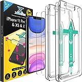 XeloTech [2 Stück] Premium Schutzglas für iPhone 11 Pro, iPhone XS/X mit Schablone zur Positionierung - Panzerfolie aus 9H Glas - Handy-Hülle kompatible Schutzfolie F