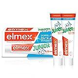 Elmex Zahnpasta Junior Doppelpack, 2 x 75 ml - Zahncreme für Kinder von 6-12 Jahren mit mildem Geschmack, wirk