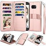 Njjex Schutzhülle für Galaxy S7 Edge / Samsung S7 Edge, luxuriöses PU-Leder, 9 Kartenfächer, Ausweis, Kreditkartenfächer, abnehmbar, Standfunktion, magnetische Handschlaufe, roségoldfarb