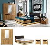 QMM TraumMoebel Schlafzimmer komplett weiß Hochglanz JORCK Set A Schrank LED Bett 200 x 160 Nachttische (180 x 200 cm)