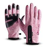 T98 Touchscreen Handschuhe, Fahrradhandschuhe Laufhandschuhe Winter Warme Sporthandschuhe Herren Damen Winddicht Wasserdichter Winterhandschuhe für Radfahren, Wandern, Skifahren(Pink, M)