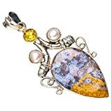 StarGems Natural Ozean-Jaspis Citrin Und Flussperle Handmade 925 Sterling Silver Pendant 5.7cm E5095