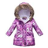 Winter Warm Mantel Baby Mädchen Junge Blumen Kapuze Winddicht Jacke mit Kunstfell Baumwolle Parka Gepolstert Overcoat Outwear Schneeanzug für 3-12 Jahre, violett, 11- 12 J