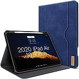 iPad Air 4. Generation Hülle 2020 Neues iPad Air 10.9 Zoll Hülle W Stift Halterung PU Leder Folio Stand Smart Cover mit Tasche Auto Sleep/Wake [Unterstützt drahtloses Laden] (Blau)