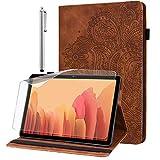 GLANDOTU Hülle für Samsung Galaxy Tab S2 9.7 Zoll (T810/ T815) mit Schutzfolie und Stylus Stift - Ultra Dünn mit Standfunktion Flip Cover PU Leder Hülle (braun)
