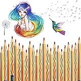 Regenbogenstift, Vegena 30 Stücke Regenbogen Buntstifte Set Zeichnung Bleistifte Malstifte 4 in 1 Zauberstift Farbstift Holzstifte für Erwachsene oder Kinder Kunst Zeichnung, Färbung und Sk