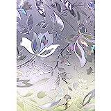 Zindoo 3D ohne Klebstoff Fensterfolie Dekorfolie Sichtschutzfolie Blumen Entwurf Privatsphäre Schutz Fenster Folie für Heim Kueche Buero 44.5 * 200CM