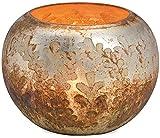 matches21 Windlicht/Kerzenglas/Teelichtglas mit Blattdekor Blätter Glas Silber Bauernsilber rund 1 STK Ø 14x10